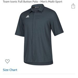 Men's adidas full button polo